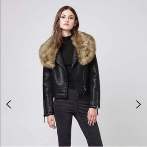 TopShop Faux leather moto jacket with collar